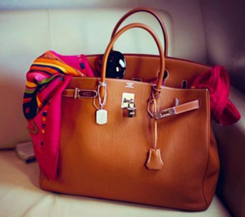 Hermes Birkin Bag and Vintage Scarf