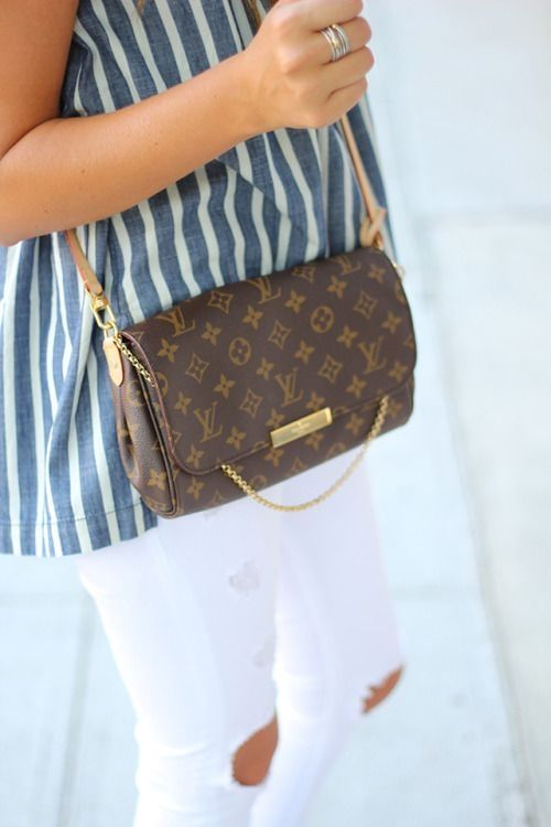 Louis Vuitton bag with white jeans