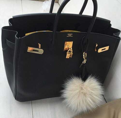 black-birkin-hermes-with-flaffy-madal