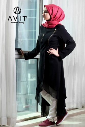 black dress in different cuts Avit hijab