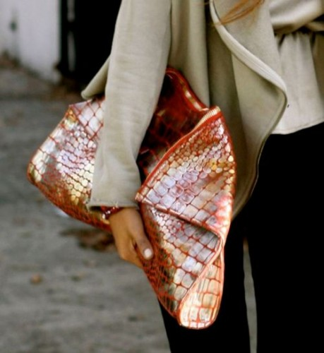 Printed and embellished clutch