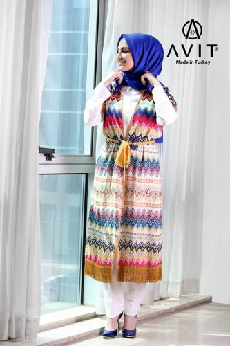 colorful aztec vest Avit hijab