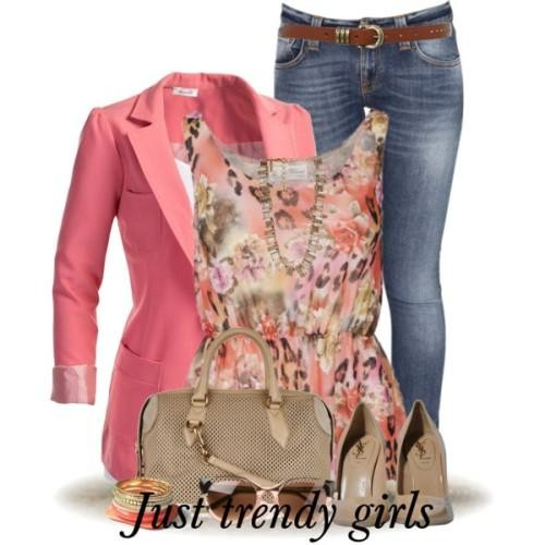 floral top with coral blazer