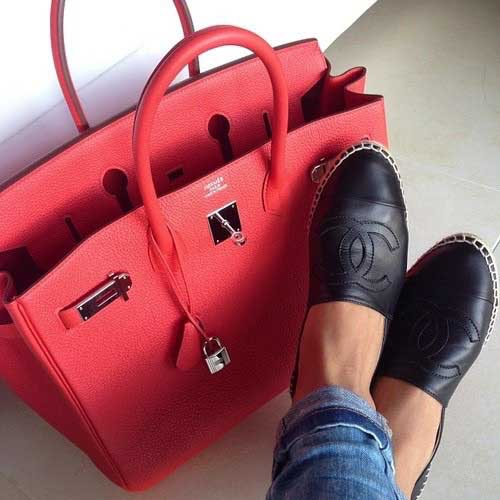 coral-hermes-birkin-bag-with-chanel-slip-on