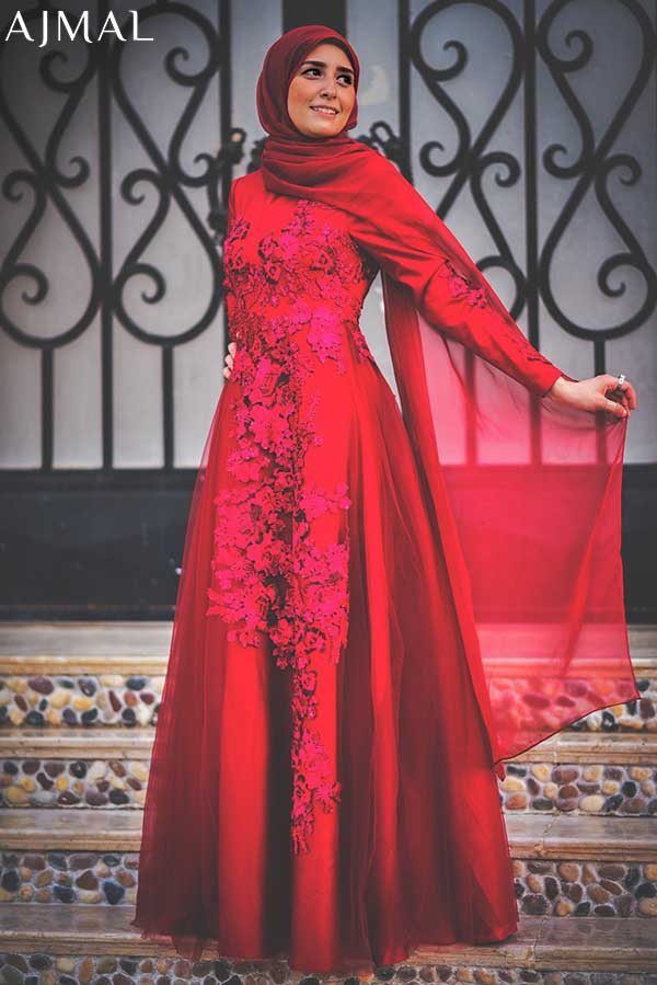 elegant-red-soiree-dress-hijab-look