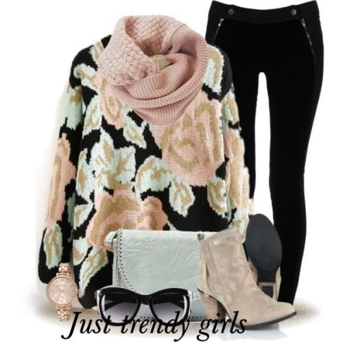 floral chunky sweater