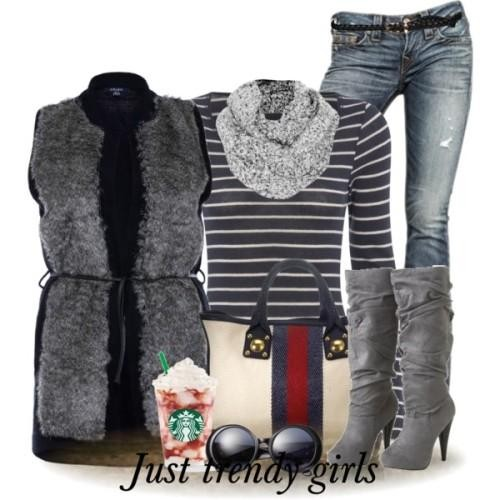 fur vest with stripes  top