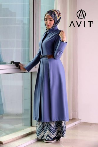 long blue dress with matched jacket Avit hijab