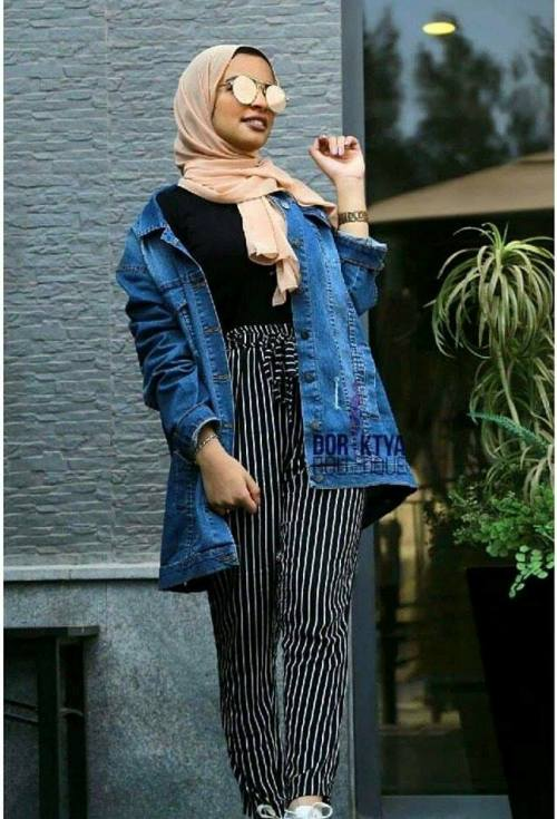 Oversize Jean Jacket With Hijab Look Just Trendy Girls