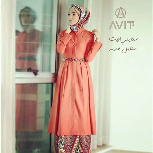 peach long shirt dress avit hijab