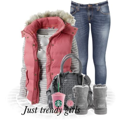 pink puffer vest christmas outfit