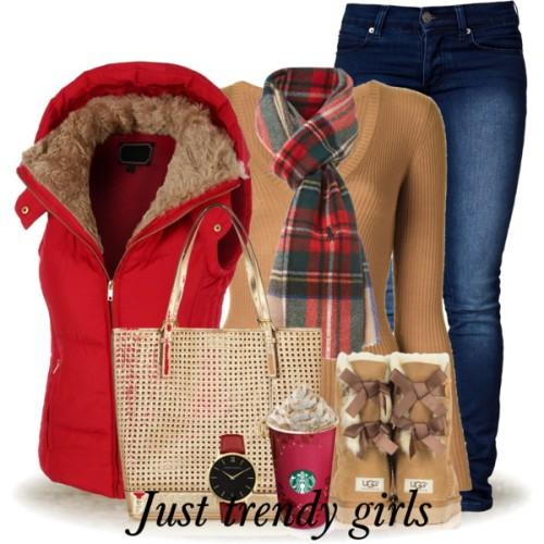 puffy red vest christmas cute outfit