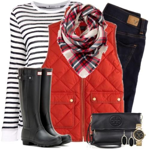 red puffer vest christmas outfit