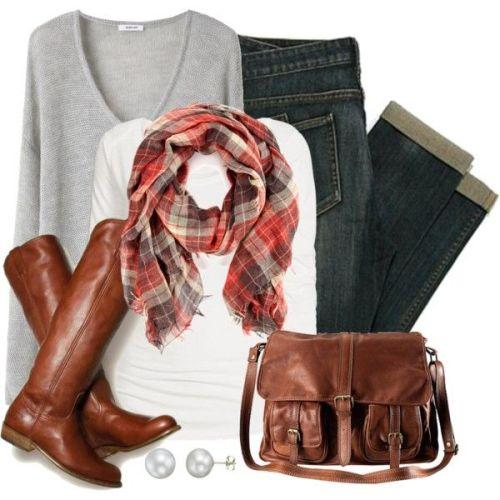 tartan scarf maroon boot and shoulder bag