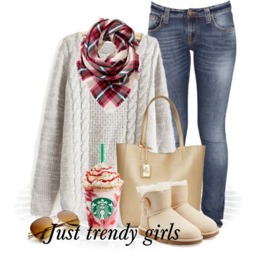 white chunky christmas sweater with plaid scarf