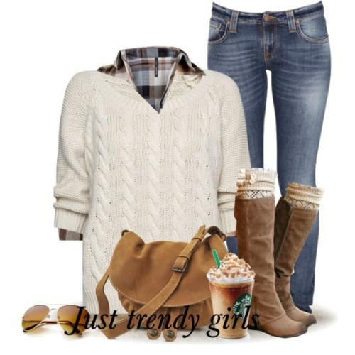 white knit sweater withy cognac boots
