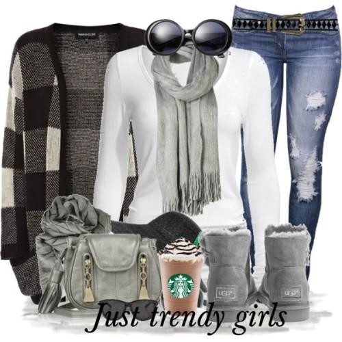 scarf cardigan jeans