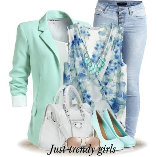 mint blazer with floral blouse