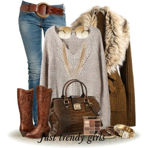 Fur vests and cardigans outfits
