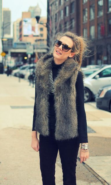 Fur Vest Street Style For Woman Just Trendy Girls
