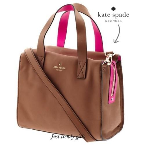 kate spade brown and neon pink