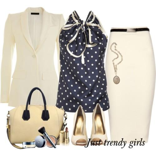 polka dots blouse work style with pencil skirt