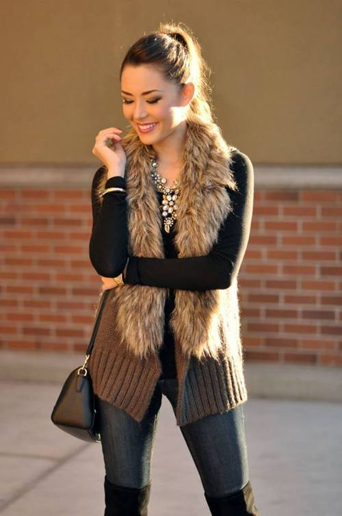 images with woman wearing fur vests