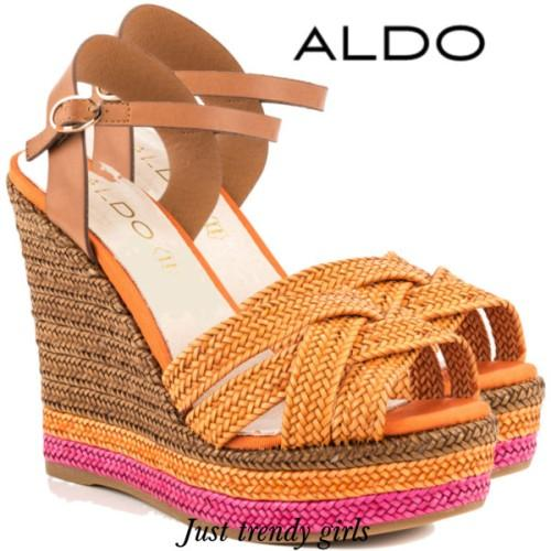 aldo orange wedge sandal,