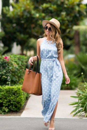 baby blue polka dots maxi dress