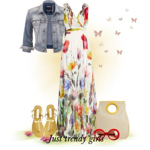 floral maxi dress with jacket