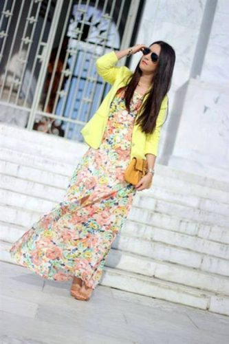 floral maxi dress with blazer
