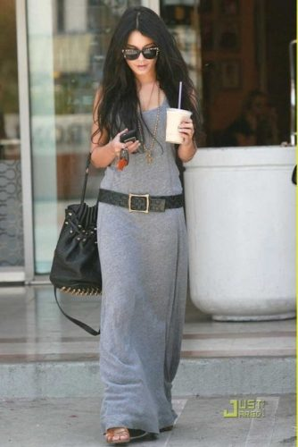 gray maxi dress with belt
