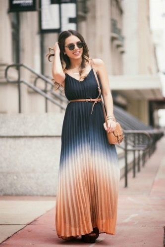 pleated dye maxi dress