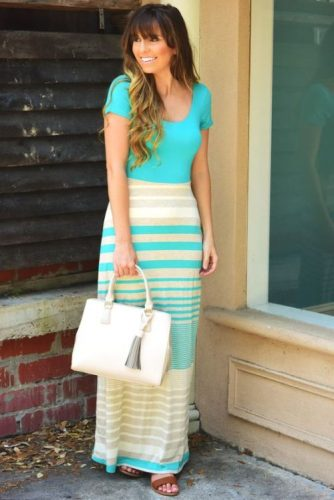 striped colorful maxi dress