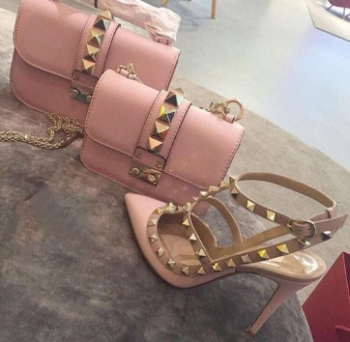 valentino blush bag and heels