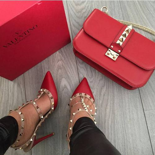 valentino red bag and shoes
