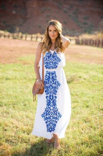 white blue maxi dress