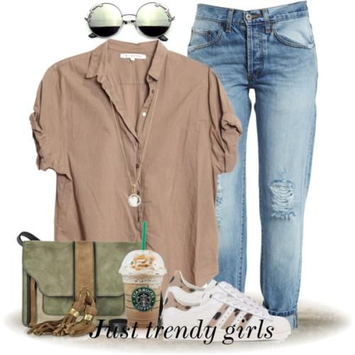 beige top with boyfriend denim