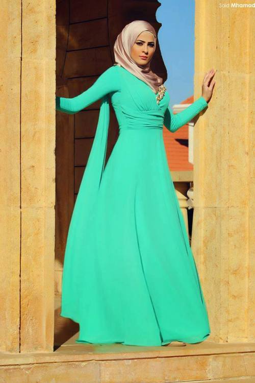 green long gown hijab chic