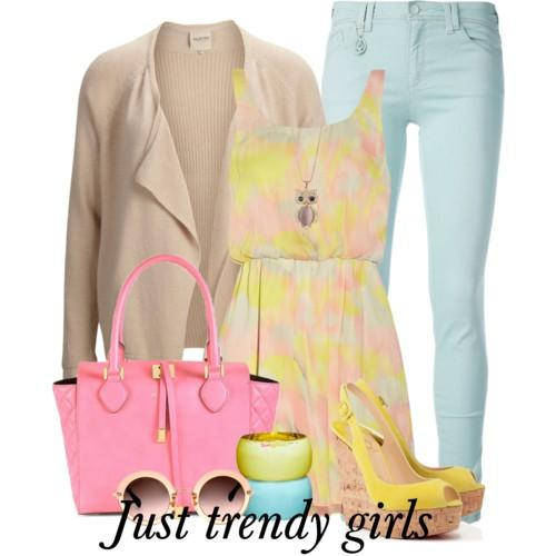Casual outfits in pastel colors