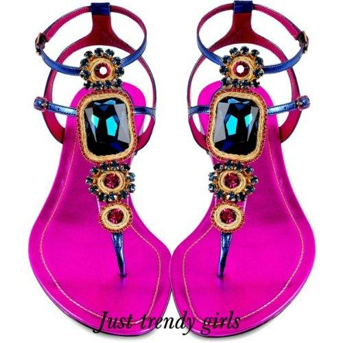 Flat embellished sandals