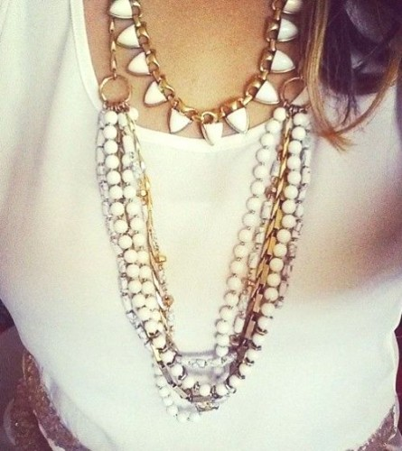 White Sutton statement neckalce