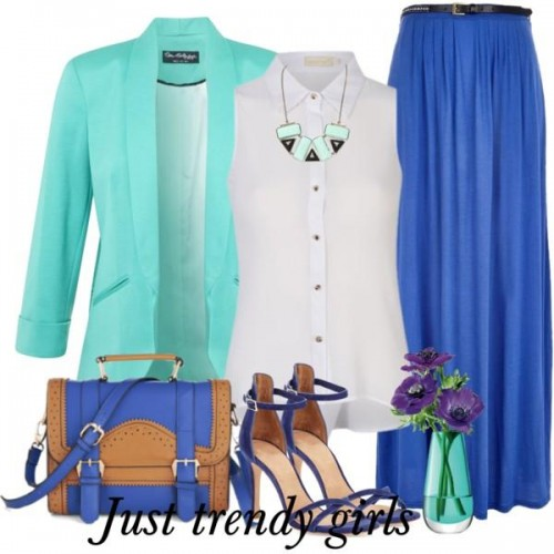 block color outfit in blue s