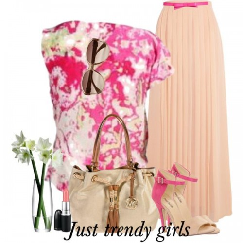 candy color outfit in peach s