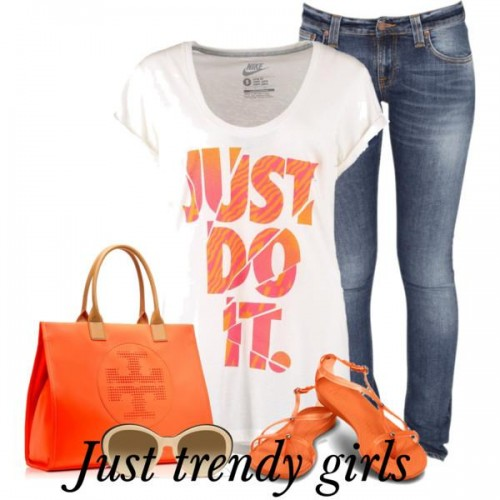 casual orange outfit