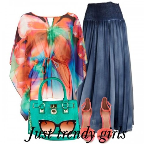 colorful top with skirt