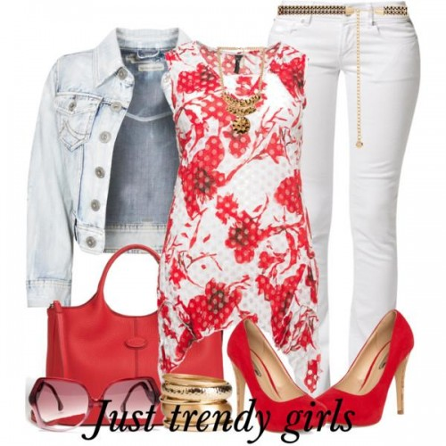 floral red top outfit