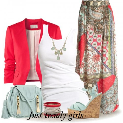 cropped red blazer outfit