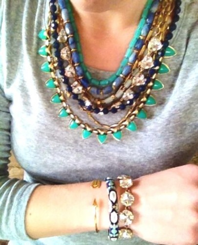 statement necklace with matchet bracelets