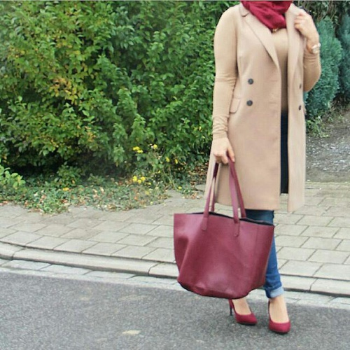 hijab outfit in warm colors